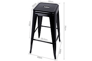 Set of 2 Steel Metal Backless Stool - Black - Free Shipping