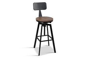 Rustic Industrial Metal Bar Stool - Free Shipping
