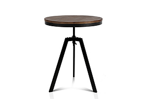 Elm Wood Round Dining Table - Dark Brown - Free Shipping