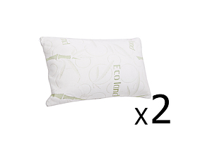 Set of 2 Bamboo Fabric Cover Shredded Memory Foam Pillow 70 x 40 cm  - Brand New - Free Shipping