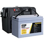 130Ah Deep Cycle Battery & Battery Box 12V AGM Marine Sealed Power Solar