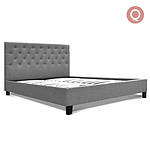 Queen Fabric Bed Frame with Headboard - Brand New