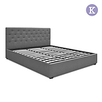 King Gas Lift Fabric Bed Frame with Headboard - Brand New