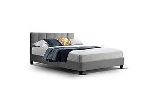 Bed Frame Double Size Mattress Base Platform Fabric Wooden Grey