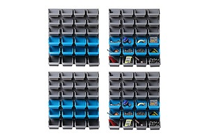 96 Storage Bin Rack Wall-Mounted Tool Parts Garage Shelving Organiser - Brand New - Free Shipping