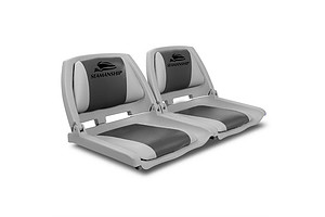 Set of 2 Swivel Folding Marine Boat Seats Grey Charcoal - Brand New
