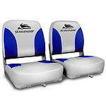 Set of 2 Swivel Folding Marine Boat Seats Grey Blue - Brand New