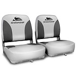 Set of 2 Swivel Folding Marine Boat Seats Grey Black - Brand New - Free Shipping