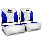Set of 2 Swivel Folding Marine Boat Seats White Blue - Brand New