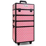 7 in 1 Portable Beauty Make up Cosmetic Trolley Case Pink - Brand New