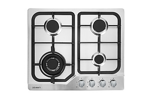 Gas Cooktop 60cm Gas Stove Cooker 4 Burner Cook Top Konbs NG LPG Steel - Brand New - Free Shipping