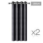 Set of 2 ArtQueen 3 Pass Eyelet Blockout Curtain Black 180cm - 260GSM