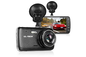 4 Inch Dual Camera Dash Camera - Black - Free Shipping