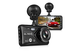 UL Tech 4 Inch Dual Camera Dash Camera - Black - Free Shipping