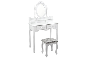 4 Drawer Dressing Table with Mirror - White - Brand New - Free Shipping