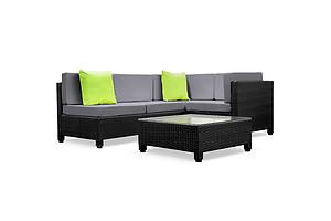 5 pcs Black Wicker Rattan 4 Seater Outdoor Lounge Set Grey - Brand New - Free Shipping