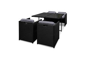 Rio Dining 5 Seater Set- Black & Grey - Brand New - Free Shipping