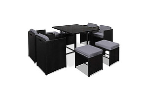 Hawaii Dining 9 Seater Set- Black & Grey - Brand New - Free Shipping