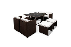 Hawaii Dining 9 Seater Set- Brown & White - Brand New - Free Shipping