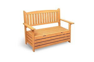 2 Seat Wooden Outdoor Storage Bench Box - Free Shipping