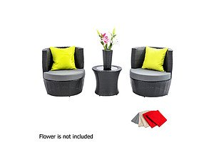Stackable 4 pcs Black Wicker Rattan 2 Seater Outdoor Furniture Set Grey - Brand New - Free Shipping