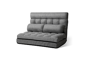 Lounge Sofa Bed 2-seater Floor Folding Fabric Grey - Brand New - Free Shipping