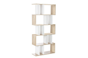 5 Tier Display Book Storage Shelf Unit - White Brown
