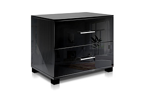 High Gloss Two Drawers Bedside Table Black - Brand New