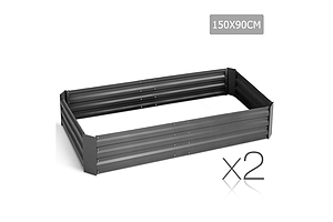 Set of 2 Galvanised Steel Garden Bed - Aluminium Grey - Brand New - Free Shipping