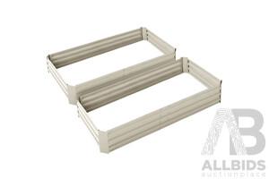 Set of 2 Galvanised Steel Garden Bed - Cream - Brand New - Free Shipping