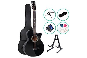 38 Inch Wooden Acoustic Guitar with Accessories set Black - Brand New - Free Shipping