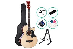 38 Inch Wooden Acoustic Guitar with Accessories set Natural Wood - Brand New - Free Shipping
