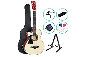 38 Inch Wooden Acoustic Guitar Left handed with Accessories set Natural Wood - Brand New - Free Shipping