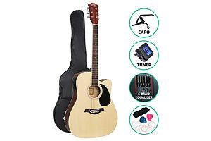 41 Inch Electric Acoustic Guitar Wooden Classical with Pickup Capo Tuner Bass Natural