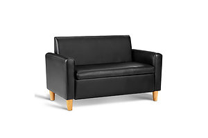 Kids Sofa Storage Armchair 2 Seater Black PU Leather Children Chair Couch  - Brand New - Free Shipping