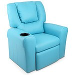 Kids Padded PU Leather Recliner Chair - Blue - Brand New