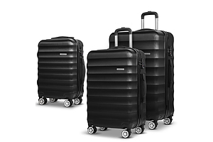 3 Piece Lightweight Hard Suit Case Luggage Black - Brand New - Free Shipping