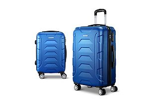 2PCS Carry On Luggage Sets Suitcase TSA Travel Hard Case Lightweight Blue