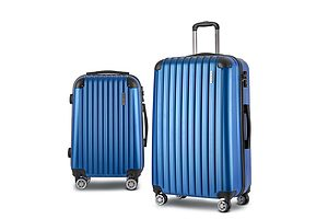 2PCS Carry On Luggage Sets Suitcase Travel Hard Case Lightweight Blue
