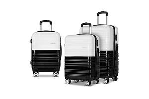 3 Piece Lightweight Hard Suit Case Luggage Black & White - Brand New - Free Shipping