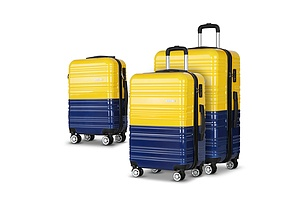 3 Piece Lightweight Hard Suit Case Luggage Yellow & Purple