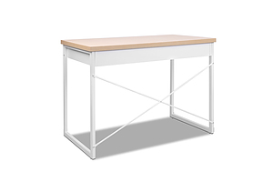 Metal Desk with Drawer - White with Wooden Top