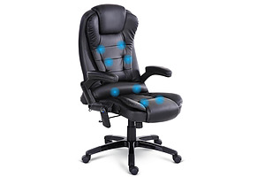 8 Point Massage Executive PU Leather Office Chair Black - Free Shipping