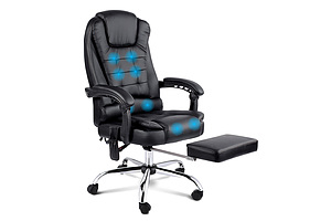 8 Point Reclining Message Chair - Black - Free Shipping