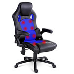 8 Point Massage Racer PU Leather Office Chair Black Blue - Free Shipping