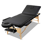 60cm Wide Portable Wooden Massage Table 3 Fold Treatment Beauty Therapy Black