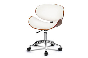 Wooden  & Leather Office Chair - White - Free Shipping