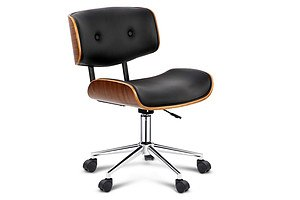 Wooden & PU Leather Office Chair - Black - Free Shipping