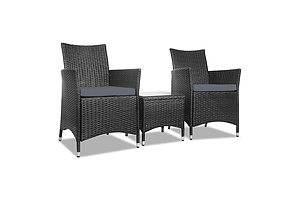 3-piece Outdoor Chair and Table Set Black - Free Shipping