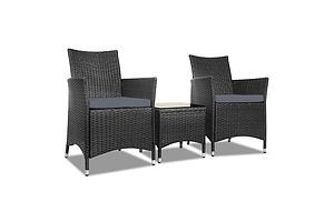 3pc Rattan Bistro Wicker Outdoor Furniture Set Black - Brand New - Free Shipping